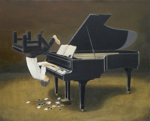 トランプ風のピアニスト