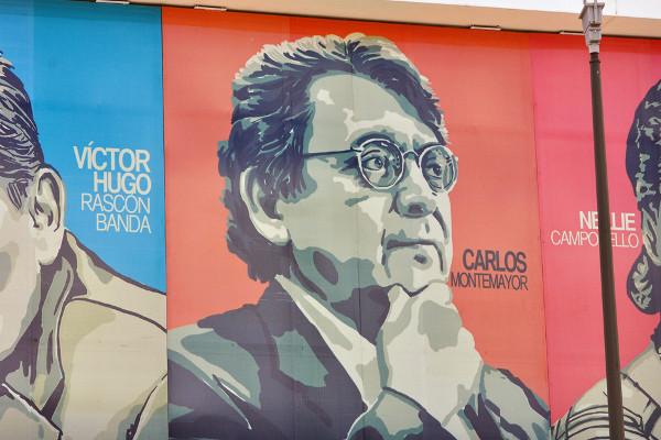 Plasman en fachada de biblioteca Carlos Montemayor a escritores