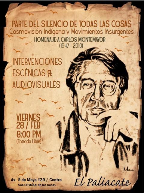 Homenaje luctuoso Carlos Montemayor en San Cristóbal de las Casas, Chiapas