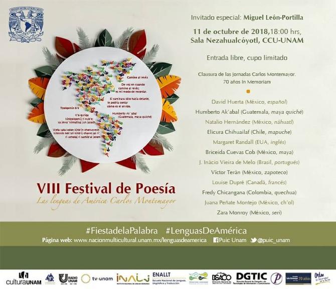 """Festival de Poesía """"Las Lenguas de América Carlos Montemayor"""", 11 de octubre, 18:00 horas,"""