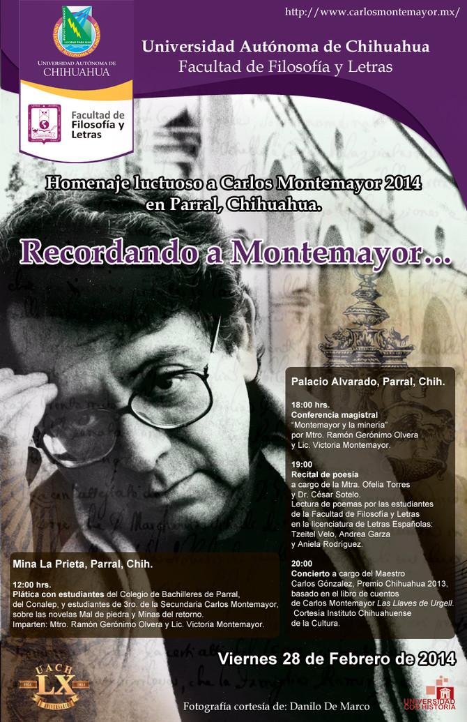 Homenaje luctuoso a Carlos Montemayor en Parral este 28 de febrero