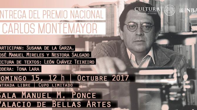 Premio Nacional Carlos Montemayor, 15 de octubre a las 12:00 horas en el Palacio de Bellas ARtes