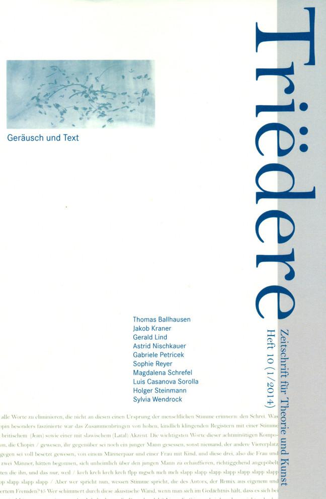 TRIEDERE Zeitschrift für Theorie und Kunst by Mathias Schmidt