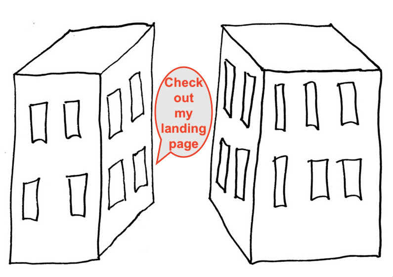 """A drawing of one building saying """"Check out my landing page"""" to another building."""