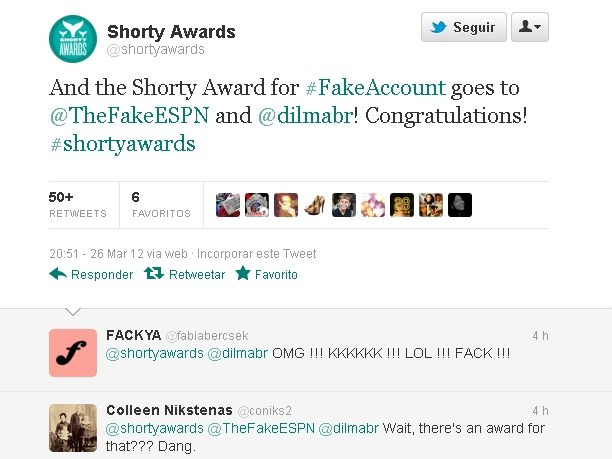 conta twitter Short Awards