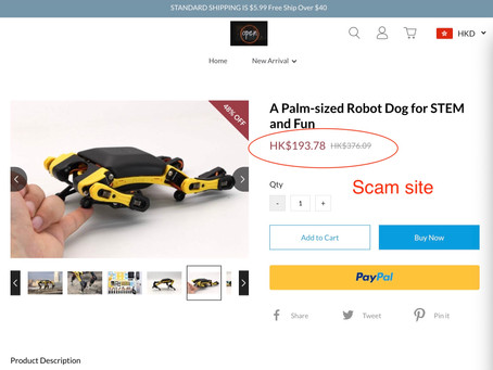 Be Aware of Scam Sites Selling Petoi Products