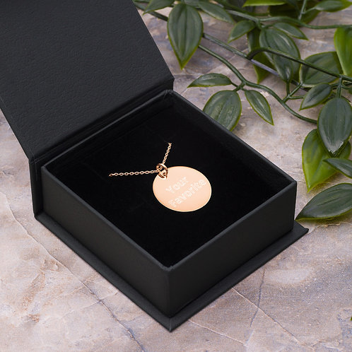 Engraved Your Favorite Silver Disc Necklace