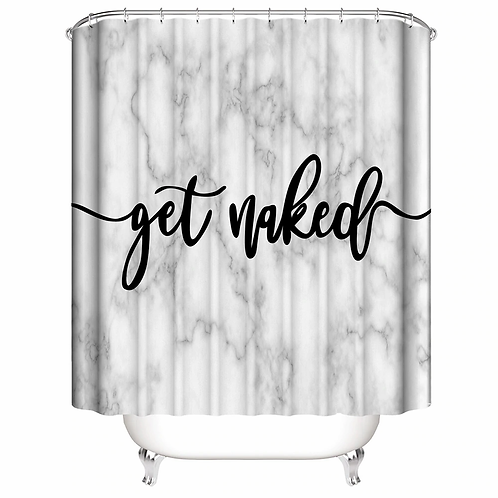 Get Naked Bathroom Shower Curtain With Mat Sets Letter Print 4 Piece Set