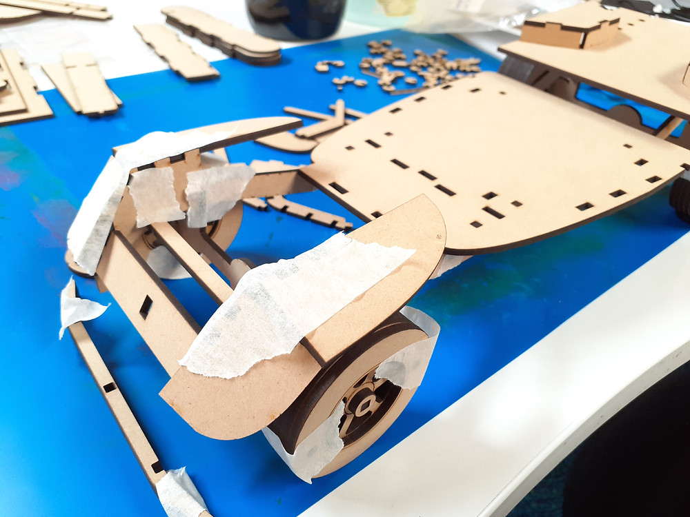 Model rover attempted construction without glue