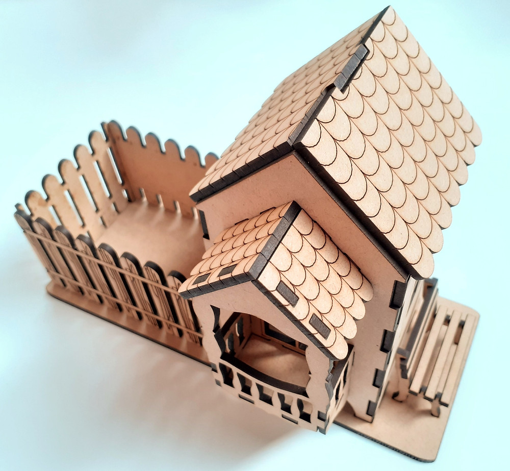 MDF Teahouse kit constructed, not decorated