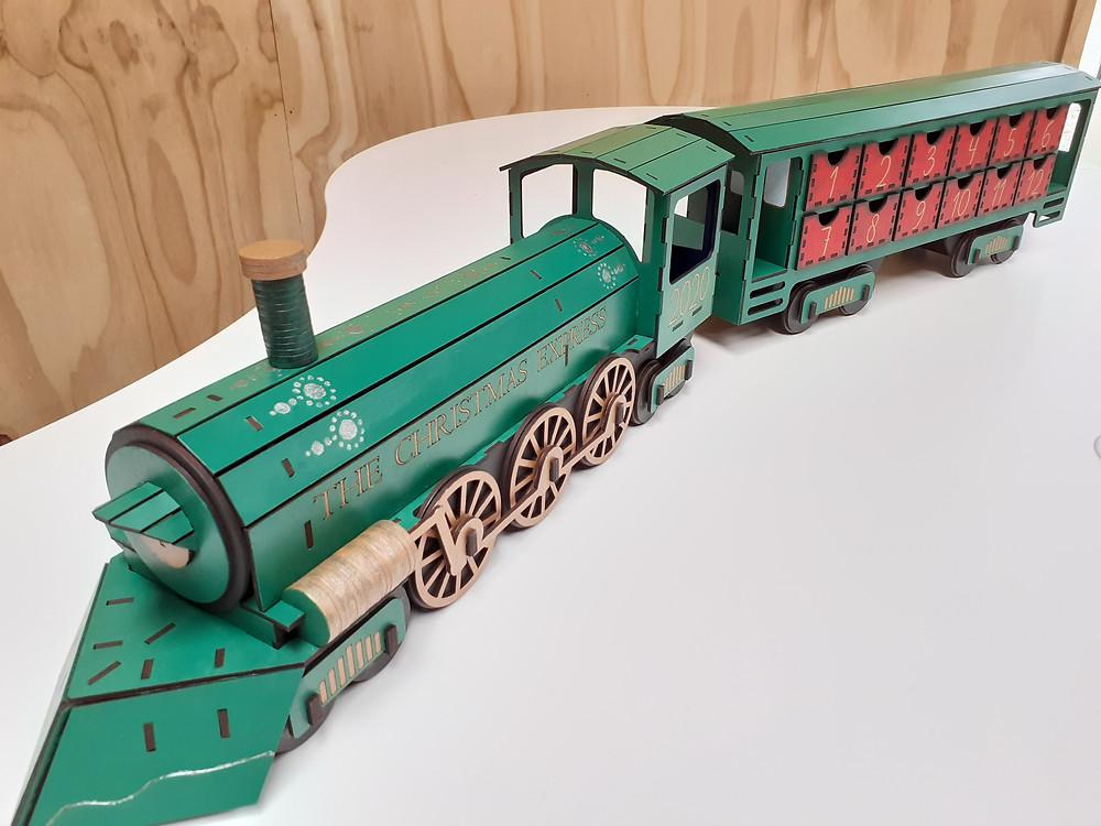 Laser cut MDF model Christmas train advent calendar