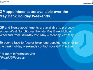 GP Appointments Available over the Late May Bank Holiday Weekend!