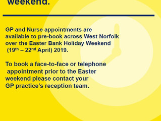 GP Appointments Available over the Easter Bank Holiday!