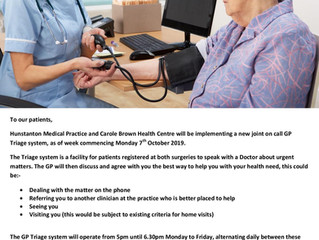 Information for Carole Brown and Hunstanton patients