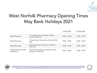 West Norfolk Pharmacy Opening Times May Bank Holidays 2021