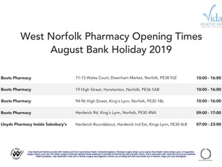 West Norfolk Pharmacy Opening Times August Bank Holiday 2019