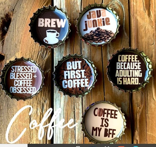 Coffee Craze Bottle Cap Magnets in Tin by Kate's Magnets