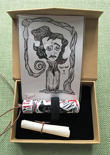 Poe Nevermore Vial with Inked Original ACEO Poe Portrait
