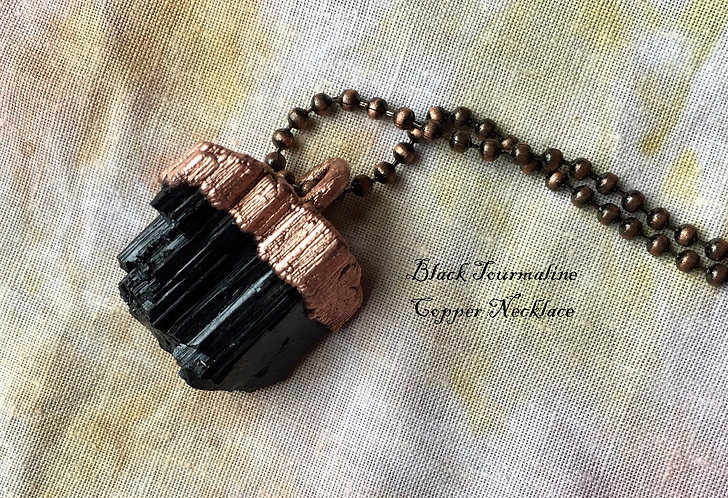 Black Tourmaline Copper Necklace by Merging Metals