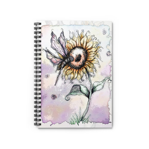 Everglow Sunflower & Dragonfly Spiral Notebook - Ruled Line