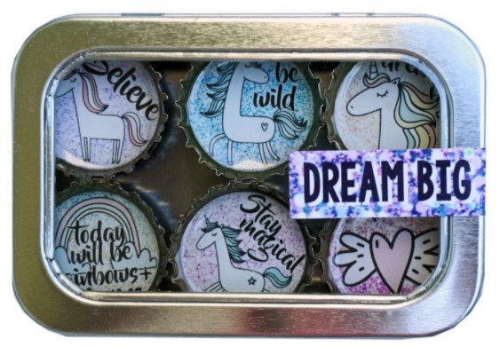 Unicorn Love Bottle Cap Magnets in Tin by Kate's Magnets