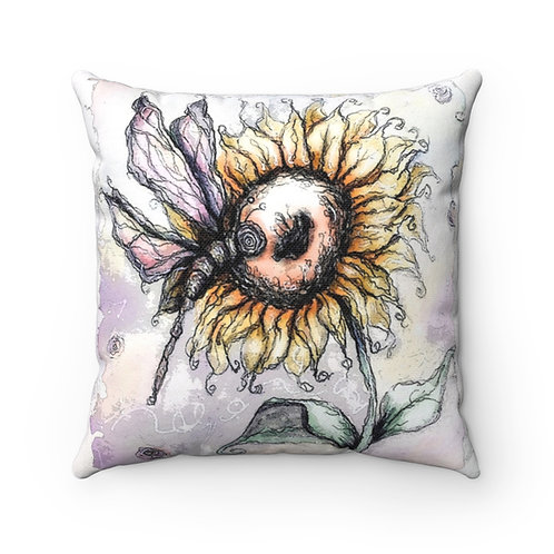 Everglow Sunflower & Dragonfly Pillow