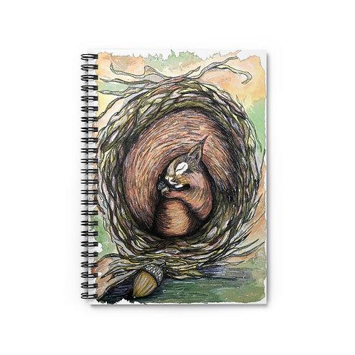 Sleepy Squirrel Spiral Notebook - Ruled Line