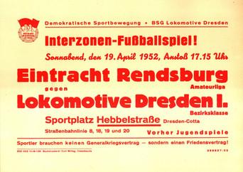 Ansetzungsplakat für ein Interzonen-Spiel auf dem Sportplatz Hebbelstraße