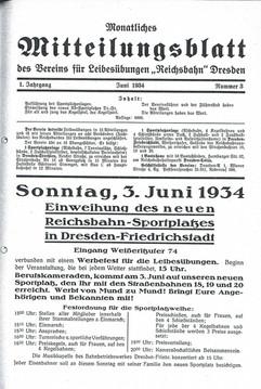 Mitteilungsblatt zur Sportplatz-Weihe am Emerich-Ambros-Ufer