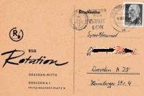 Postkarte der BSG Rotation Dresden-Mitte