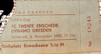 Eintrittskarte Dynamo Dresden gg. Twente Enschede Europacup 1980