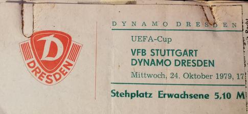 Eintrittskarte Dynamo Dresden gg. VfB Stuttgart Europacup 1979