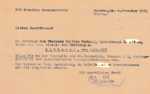 Einladungskarte zum Training der BSG Rotation Dresden-Mitte