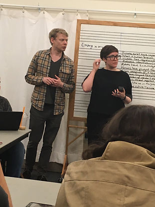 Eric John Meyer an Jean Ann Douglass teach a class of Concordia College students