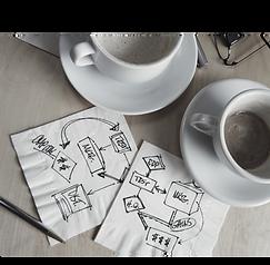Tasses de café et notes manuscrites