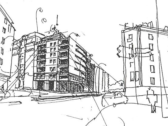Perspective de rue ; Dessin à la main