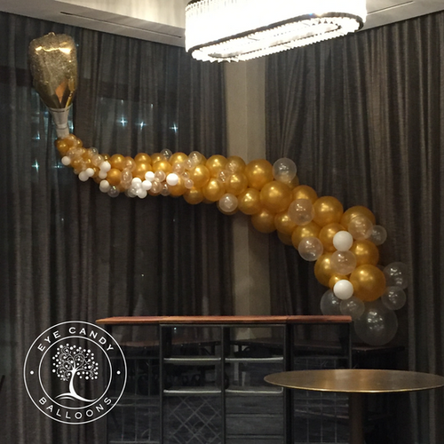 Champagne Balloons with gold champagne bottle at Eye Candy Balloons