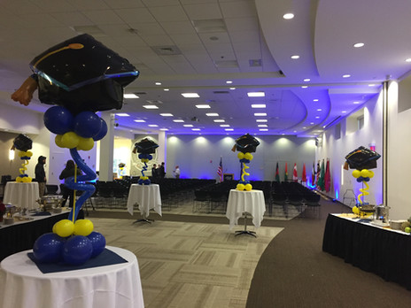 Graduation Balloon Centerpieces at SNHU Manchester by Eye Candy Balloons