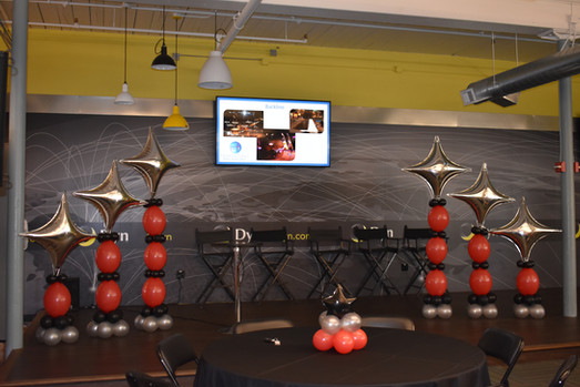 Corporate Stage Balloon Decor | Oracle NH | Eye Candy Balloons