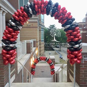 Latex-free Balloon Arch at MCPHS, Boston by Eye Candy Balloons