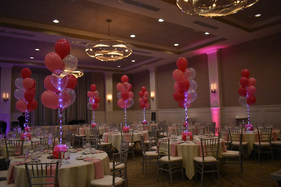 Pink Balloon Bouquet Centerpieces with Lights in Portsmouth, NH by Eye Candy Balloons
