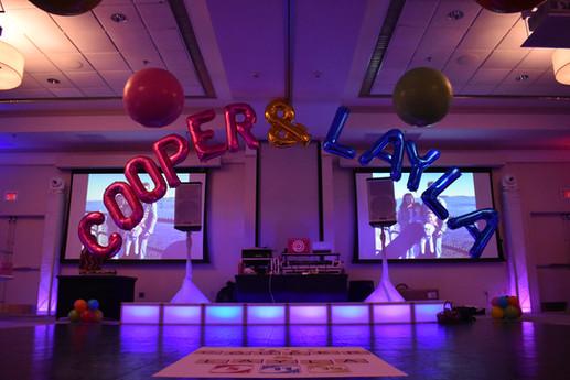 Mitzvah Balloon Arch, Balloon Name Arch at Event Center Nashua by Eye Candy Balloons