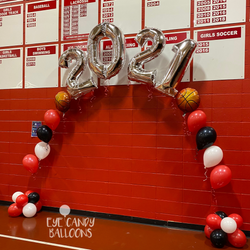 2021 Graduation Balloon Arch at Pinkerton Academy in Derry, NH by Eye Candy Balloons