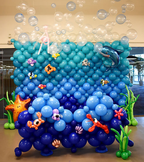 Under the Sea Balloon Wall Decorations at Expo Center Manchester by Eye Candy Balloons