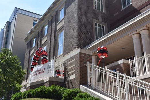 Latex-free Balloon Colum and Balloon Arch at MCPHS Boston by Eye Candy Balloons
