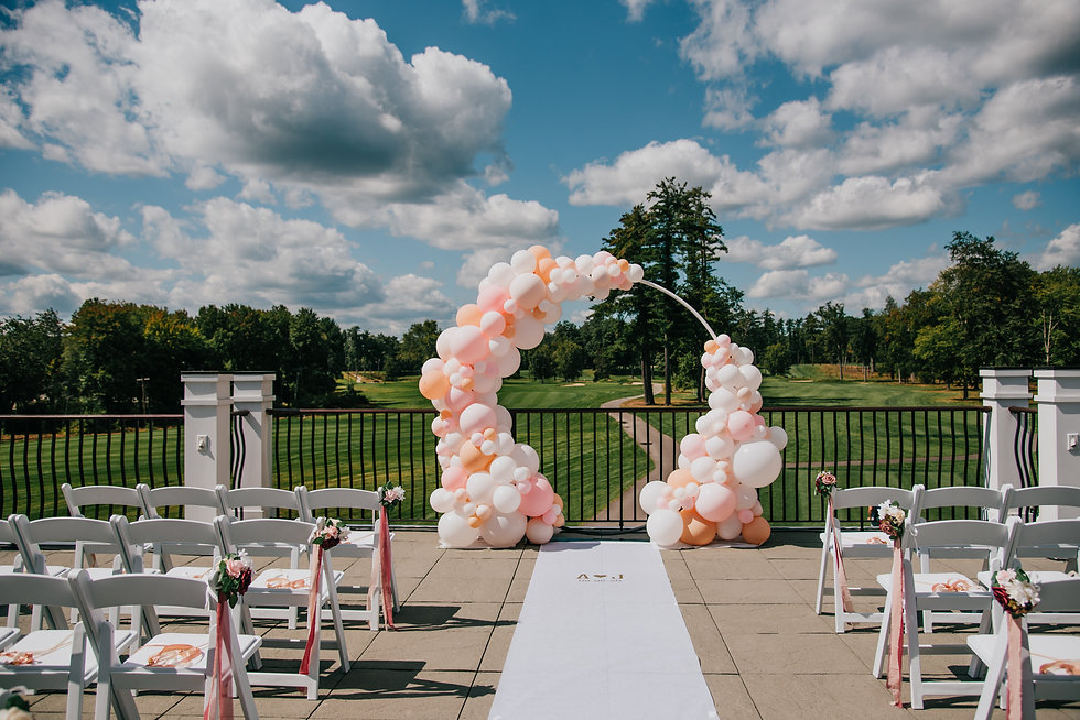 Outdoor Organic Wedding Balloon Hoop at Manchester Country Club by Eye Candy Balloons