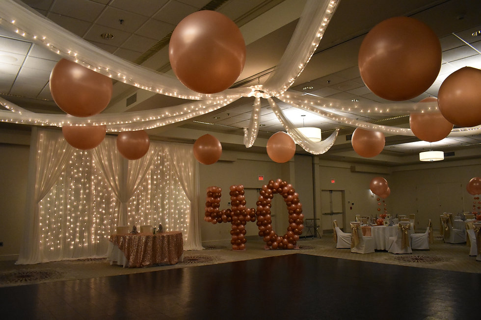 Jumbo Balloons as Ceiling Decorations and Giant Balloon Numbers for Weddings and Birthday Parties | Event Center Nashua | Eye Candy Balloons