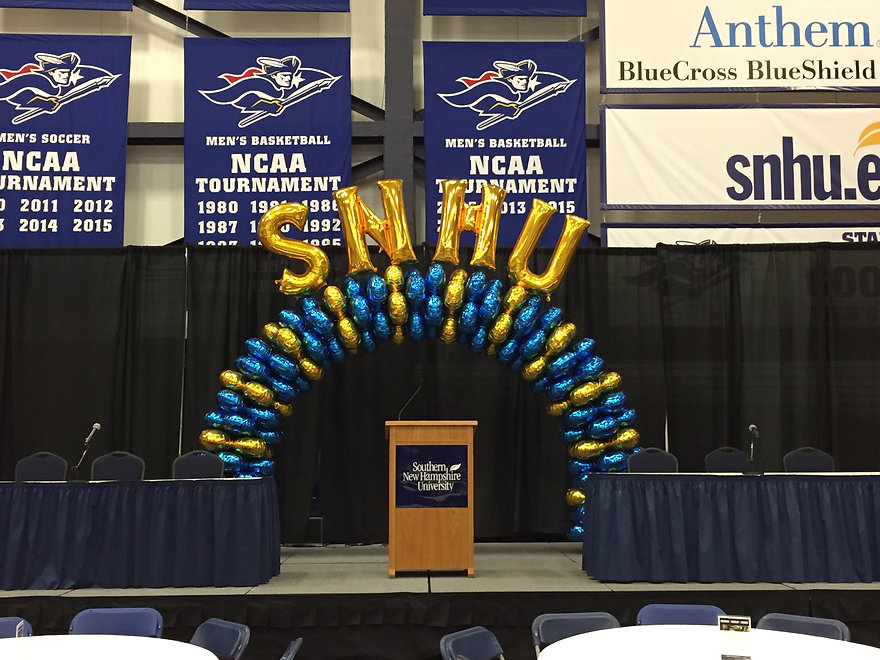 Latex-free balloon arch for Southern New Hampshire University Graduations by Eye Candy Balloons