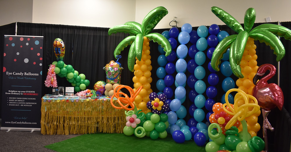 Tri City Expo Manchester NH Eye Candy Balloons Balloon booth tropical balloons balloon backdrop