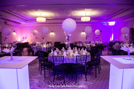 White Wedding Balloon Centerpieces at Event Center Nashua by Eye Candy Balloons